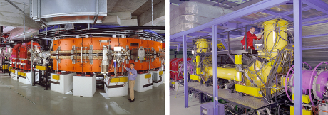 The left image shows dipole and quadrupole magnets of the ESR ring. The electron cooler installed at the ESR ring is displayed on the right.