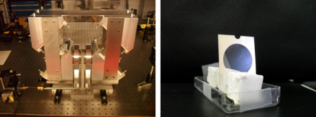 To the left, an arrangement of mirrors to generate high-intensity laser pulses with circular polarization.